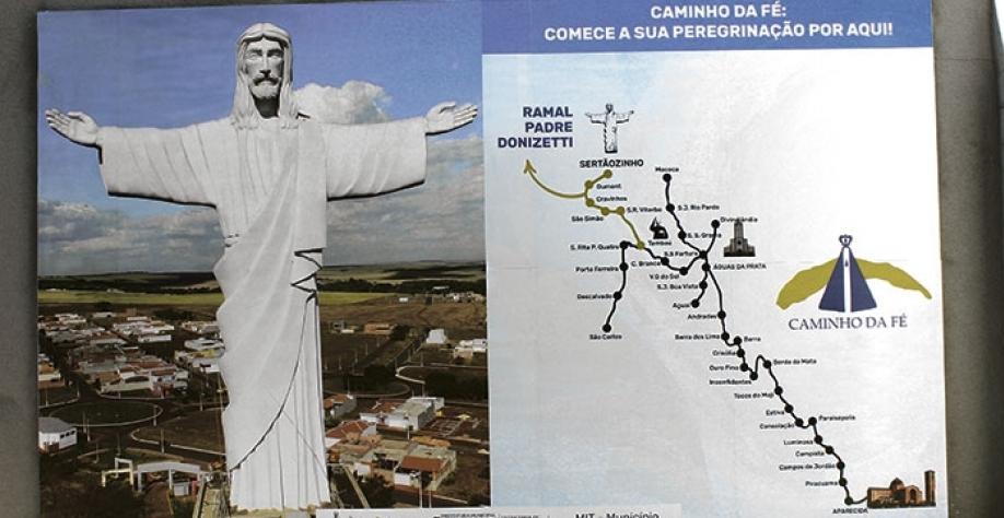 Mapa com as cidades do percurso do Caminho da Fé no Estado de São Paulo: turistas peregrinos podem optar por partir de Sertãozinho para o trajeto completo até Aparecida, ou para realizarem o Ramal Padre Donizetti até Tambaú
