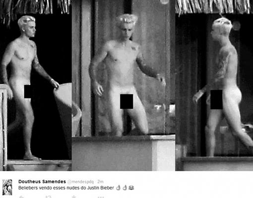 Usuários... do Twitter comentam fotos de Justin Bieber nu...
