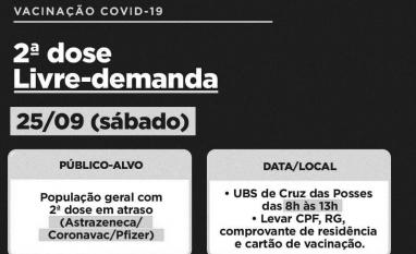 COVID-19: Prefeitura faz ação de vacinação em Cruz das Posses para quem está com a segunda dose de qualquer imunizante atrasada