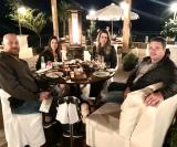 Em Bento Gonçalves/RS, os ribeirão-pretanos Leandro e Juliana De Lazari, com Fábio Stucchi Devito e Iara Dias Devito, de Catanduva