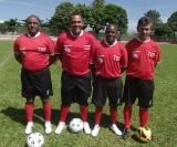 Os árbitros da Liga Sertanezina de Futebol (Baltazar, Ilson Pereira, Marquinhos e Pedro)